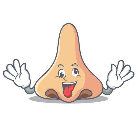 Crazy nose mascot cartoon style vector illustartion
