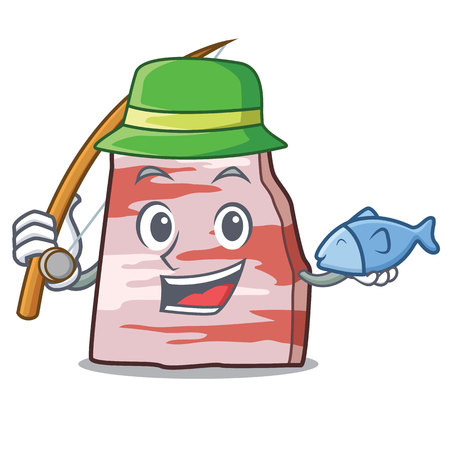 Fishing pork lard mascot cartoon Illustration