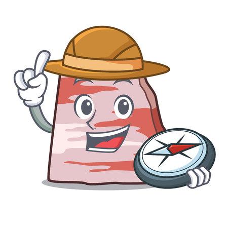 Explorer pork lard mascot cartoon Illustration