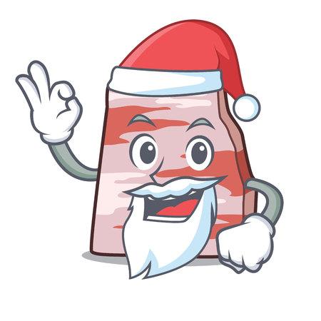 Santa pork lard mascot cartoon