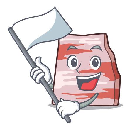 With flag pork lard mascot cartoon