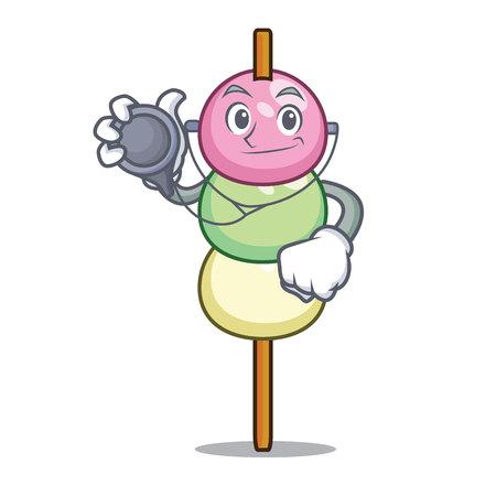 Doctor dango character cartoon style vector illustration Vettoriali