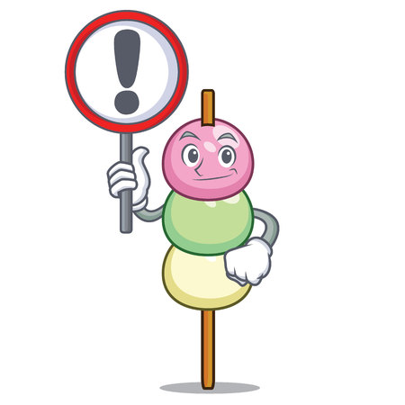 With sign dango character cartoon style vector illustration Illustration