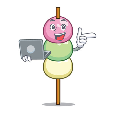 With laptop dango character cartoon style vector illustration