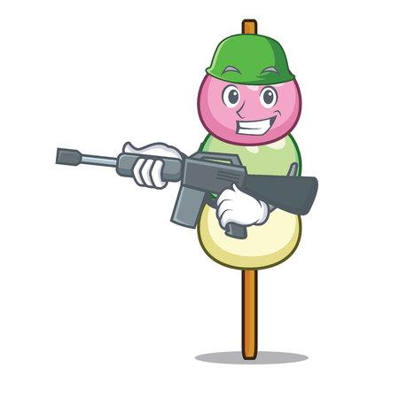 Army dango character cartoon style vector illustration Vettoriali
