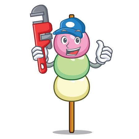 Plumber dango mascot cartoon style Vettoriali