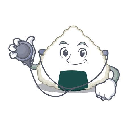 Doctor onigiri character cartoon style.