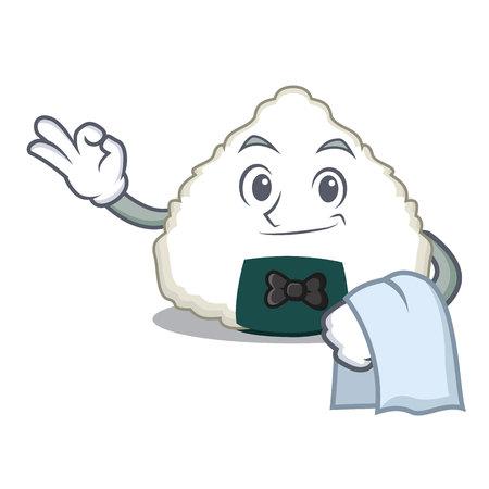 Waiter Onigiri mascot cartoon style vector illustration Illustration