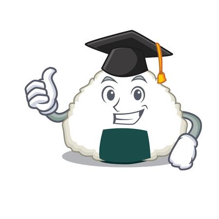 Graduation Onigiri character cartoon style Illustration