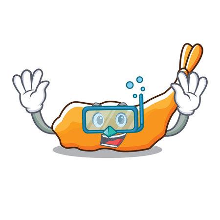 Diving tempura character cartoon style