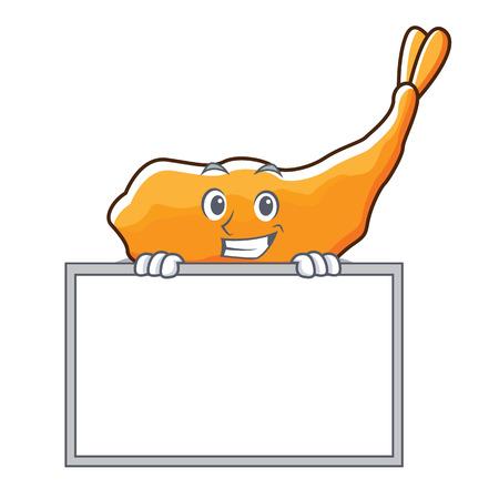 Grinning with board tempura character cartoon style vector illustration 일러스트