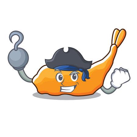 Pirate tempura character cartoon style vector illustration Illustration