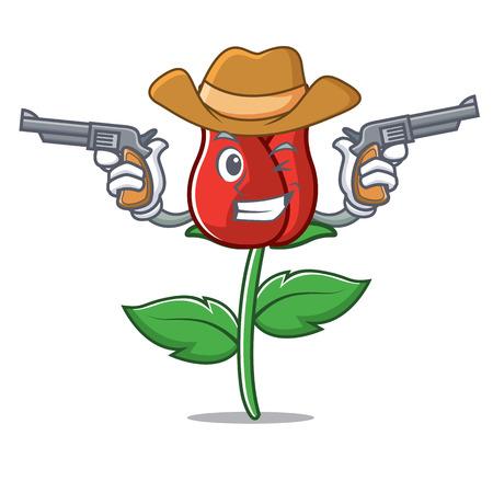 Cowboy red rose character cartoon