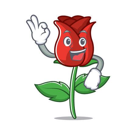Okay red rose character cartoon Illustration