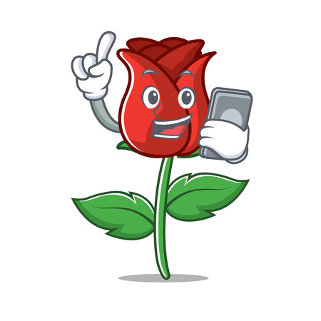 With phone red rose character cartoon