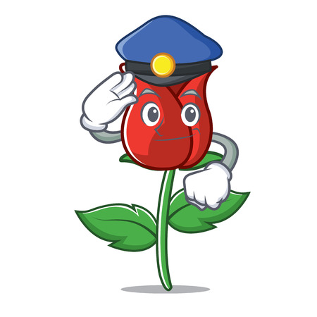 Police red rose character cartoon