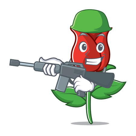 Army red rose character cartoon