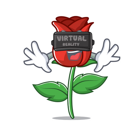 With virtual reality red rose mascot cartoon Vector illustration.