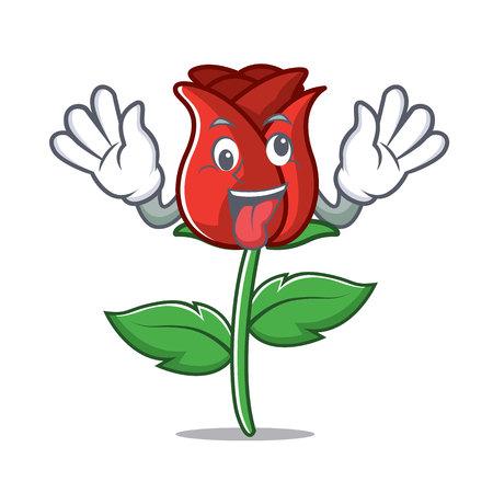 Crazy red rose mascot cartoon