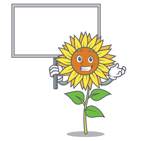 Holding a board sunflower character cartoon style