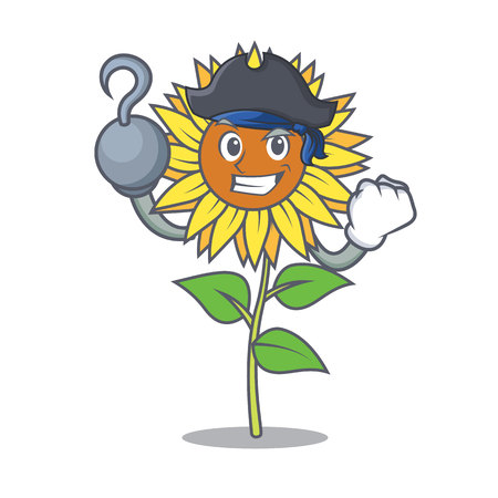 Pirate sunflower character cartoon style Vector illustration.