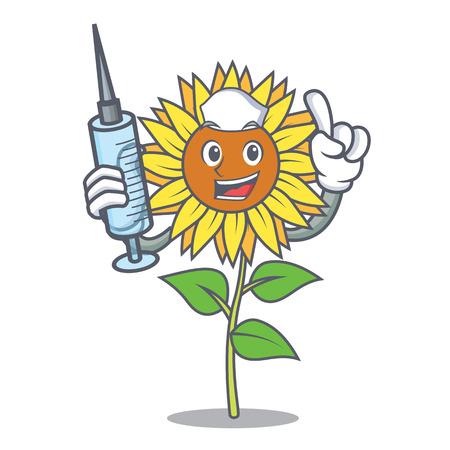 Nurse sunflower character cartoon style Vector illustration.
