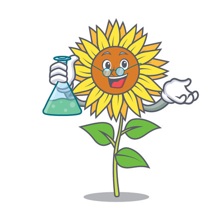 Professor sunflower character cartoon style Vector illustration.