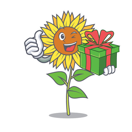 With gift sunflower mascot cartoon style Vector illustration.