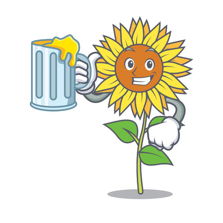 Sunflower holding a mug mascot cartoon style.