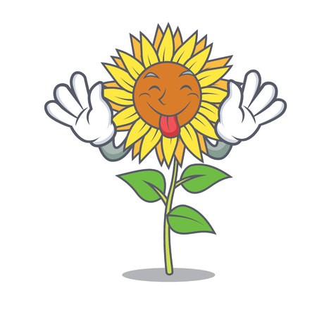 Tongue out sunflower mascot cartoon style.