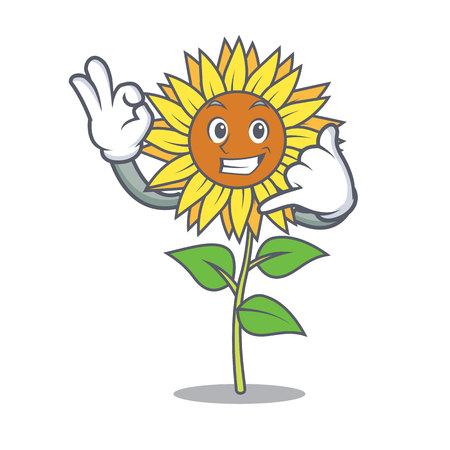Sunflower signaling call me mascot cartoon style.