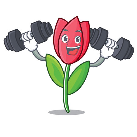 Fitness tulip character cartoon style vector illustration