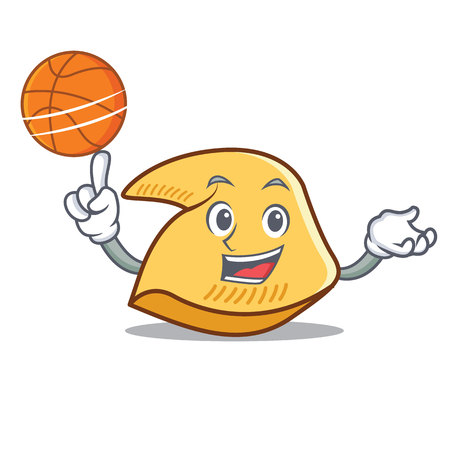 Fortune cookie character with basketball cartoon illustration. Standard-Bild - 98353138