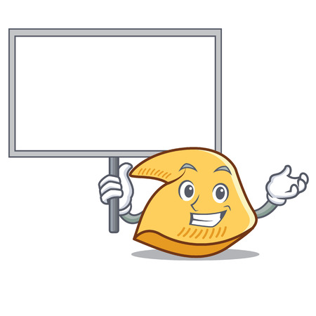 Fortune cookie character holding blank board cartoon illustration. Standard-Bild - 98353231
