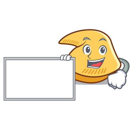 Fortune cookie character holding blank board cartoon illustration. Standard-Bild - 98353294