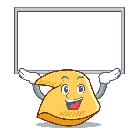 Up board fortune cookie character cartoon illustration.