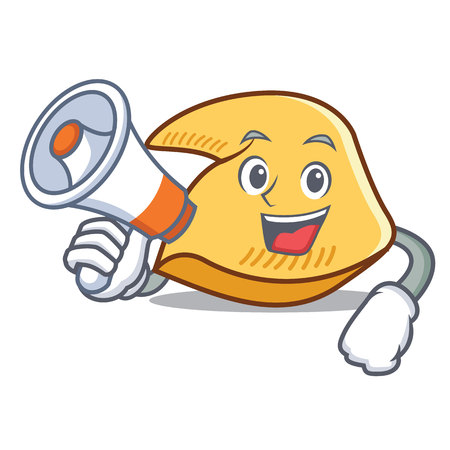 Fortune cookie character with megaphone cartoon illustration.