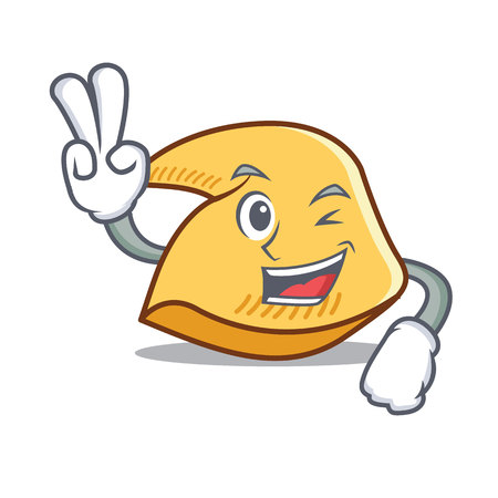 Two finger fortune cookie character cartoon illustration.
