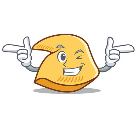Winking fortune cookie character cartoon illustration.