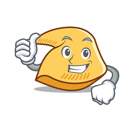 Thumbs up fortune cookie character cartoon illustration. Illustration
