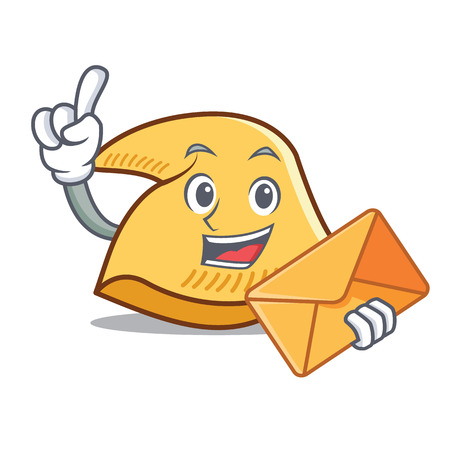Fortune cookie character with envelope cartoon illustration.