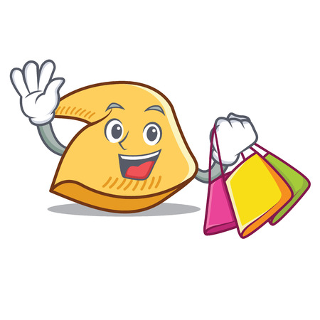 Shopping fortune cookie character cartoon illustration.