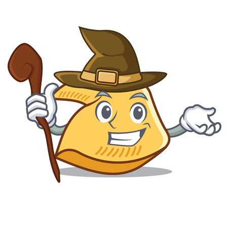 Witch fortune cookie character cartoon illustration.
