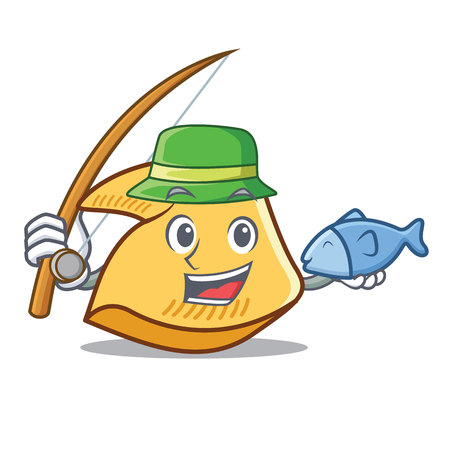 Fishing fortune cookie character cartoon illustration.