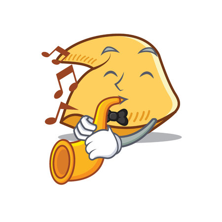 Fortune cookie character with trumpet cartoon illustration. Illustration