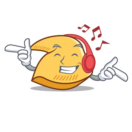 Listening music fortune cookie character cartoon illustration.