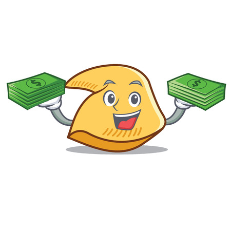 Fortune cookie character with money cartoon illustration.
