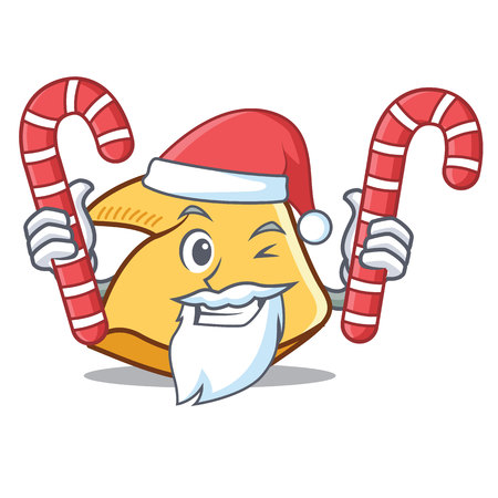 Santa with candy fortune cookie character cartoon illustration.