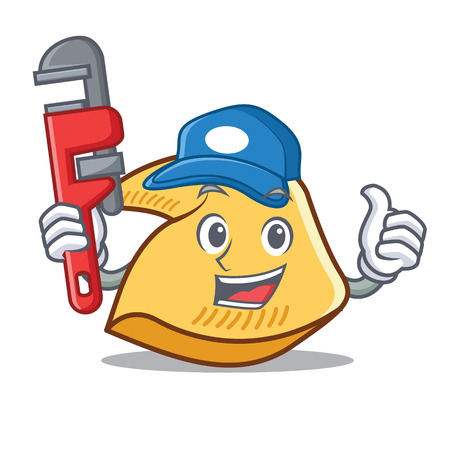Plumber fortune cookie character cartoon illustration.