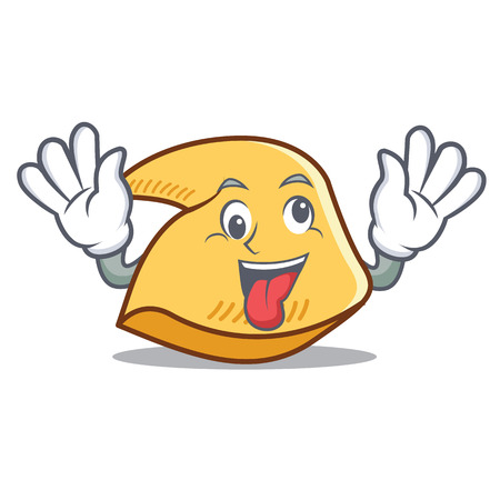 Crazy fortune cookie character cartoon illustration.